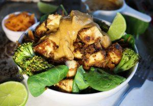 Tofu in Erdnusssoße mit Gemüse auf Reis
