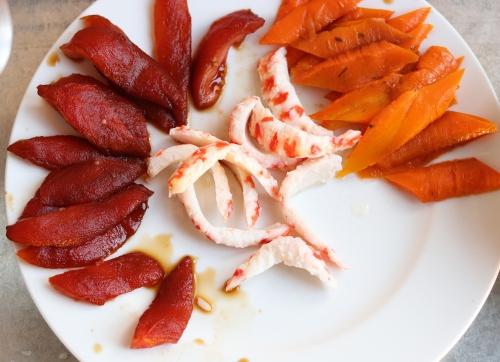 Tomatenthunvisch, Garnelen, Karottenlachs