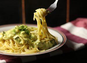 Spaghetti Carbonara -aufgegabelt