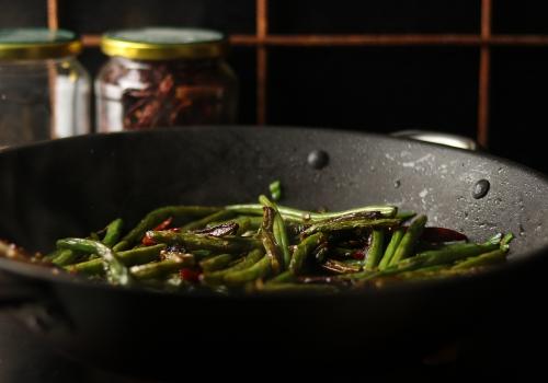 Trocken frittierte Bohnen