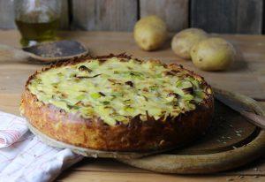 Lauchquiche mit Kartoffelpufferkruste