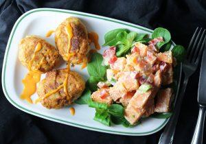 Chicken Nuggets aus Jackfruit mit Süßkartoffelsalat