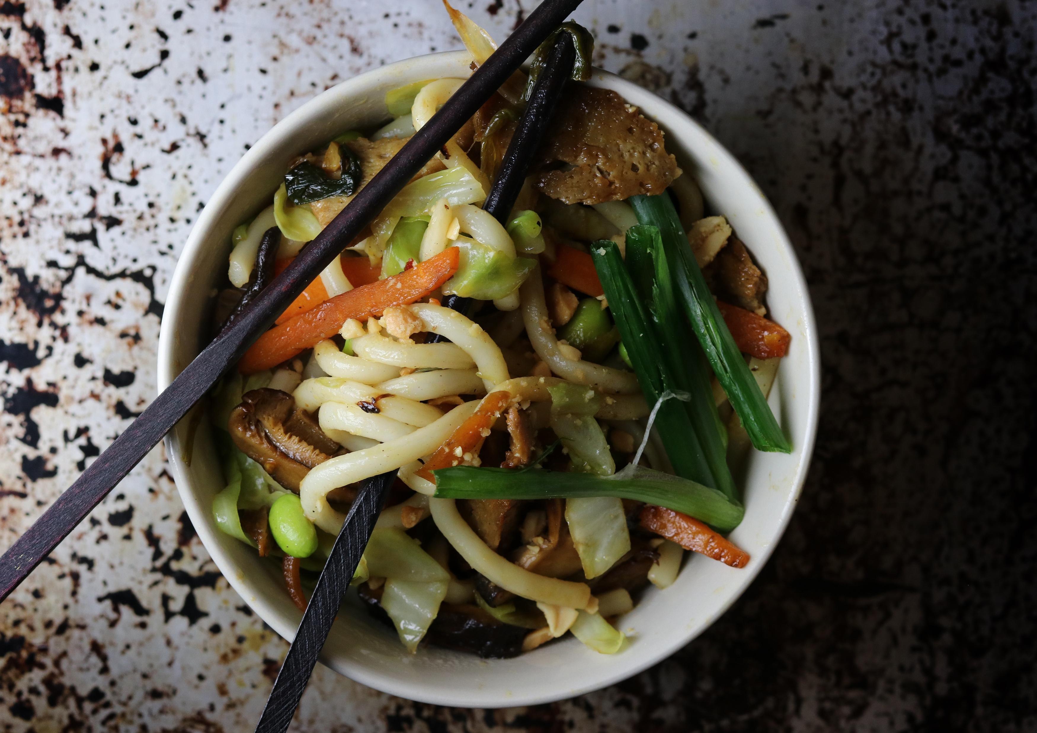 Udon Nudeln mit Gemüse