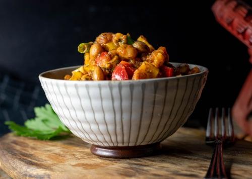 Lauwarmer Wachtelbohnensalat