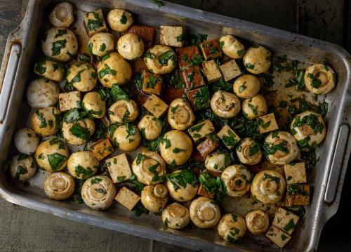 Champignons bereit für den Ofen