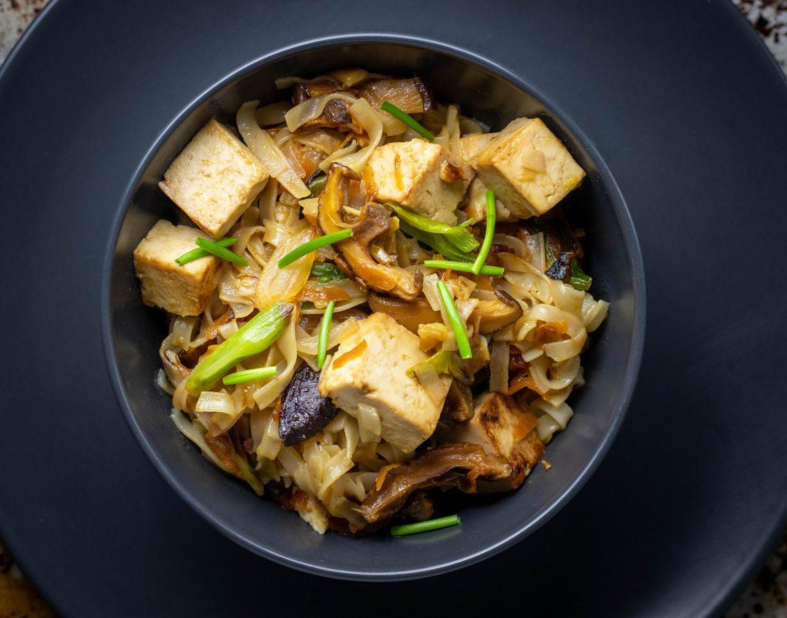 Reisbandnudeln mit Tofu