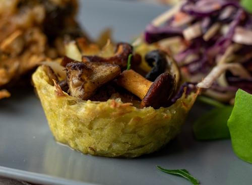Kartoffelnest mit herrlicher Pilzfüllung