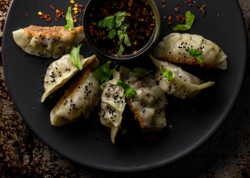 Köstliche Potsticker mit Asiadip