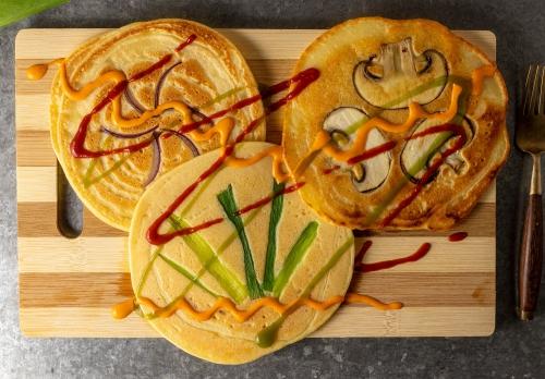 Mungobohnen Pfannkuchen, herzhafte Variante