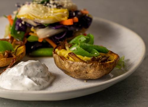 Gefüllt mit gebratenen Austernseitlingen und veganem Käse