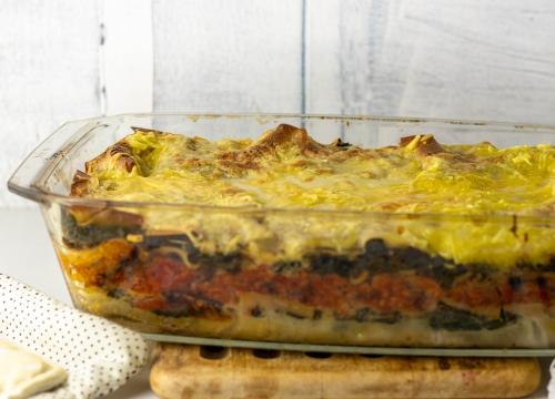 Wildkräuterlasagne frisch aus dem Ofen
