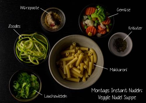 Frische Zutaten und viel Gemüse für Montag