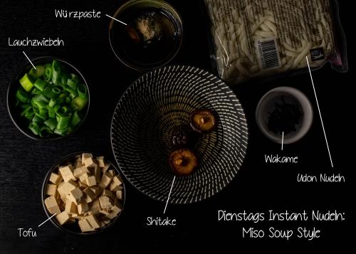 Udon Nudeln, Shitake und Tofu für Dienstag