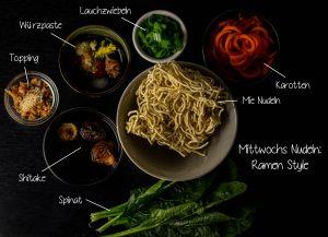 Zutaten für die Ramen Suppe mit Mie Nudeln am Mittwoch