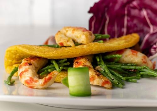 Veganes Omelette auf Kichererbsenbasis mit Seidentofu