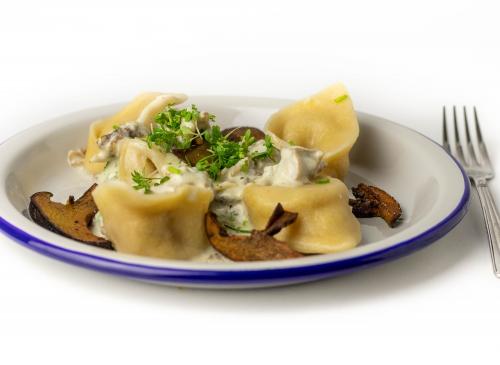Krause Glucke passt perfekt in eine Pilz-Sahne-Sauce