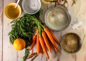 Zutaten fürden Karottenkuchen