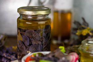 Essigpilze - sauer eingelegt unter einer Schicht aus Olivenöl