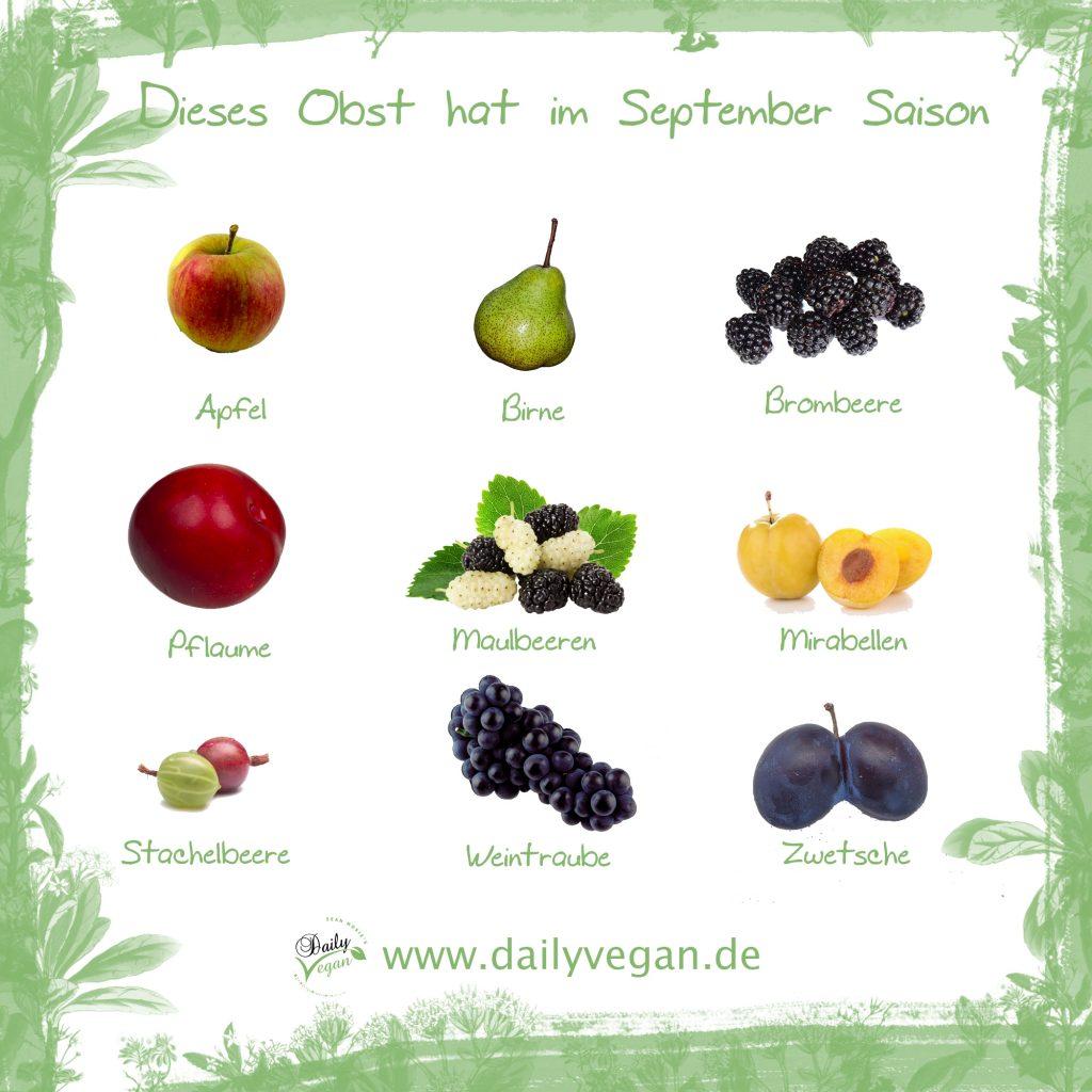 Saisonales Obst im September