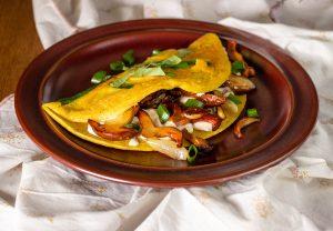 Veganes Omelette mit veganem Ricotta