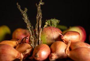 Frische Septemberernte aus Schalotten, Äpfeln und Kräutern