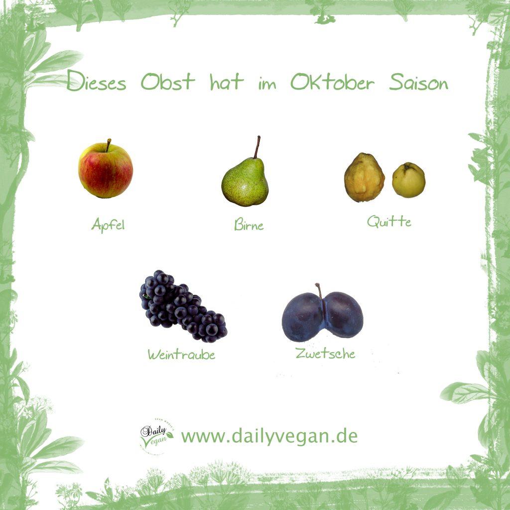 Saisonales Obst im Oktober